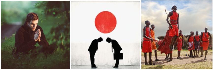 Homme assis les mains jointes. Hommes se courbant devant un drapeau japonais. Homme kenyan sautant en l'air.